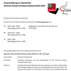 Ausschreibung zur Deutschen Internet-Schach-Amateurmeisterschaft 2020